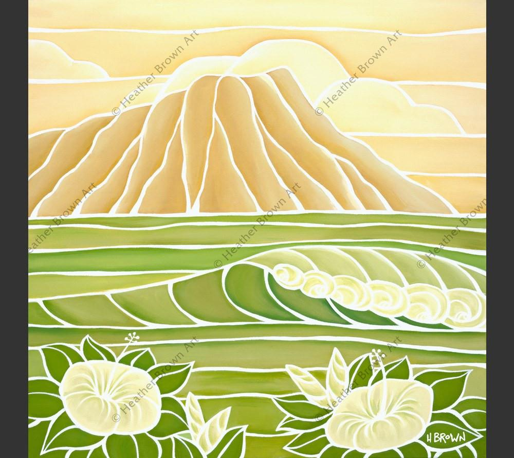 Painting by Heather Brown featuring an iconic view of Diamond Head crater.