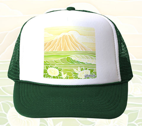 Diamond Head Sunrise Trucker Hat by Heather Brown Art