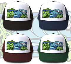 """Diamond Head Waves"" Trucker Hat is available in four hat colors"