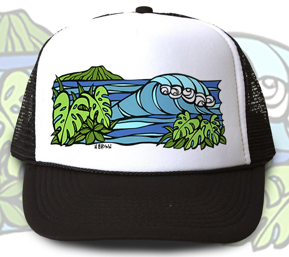 """Diamond Head Waves"" Trucker Hat - Wearable Art by Tropical Artist Heather Brown"