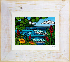 Tropical Paradise - Matted Print on Paper with Classic White, Reclaimed Wood Frame by Hawaii surf artist Heather Brown