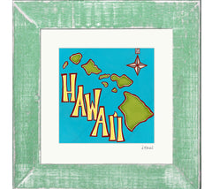 Island Map - Framed Matted Print by Heather Brown