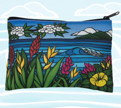 Unique Flower Cosmetic Case and Clutch by Hawaii artist Heather Brown