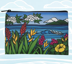 Flowers of Hawaii Beach Clutch Bag featuring tropical flowers found only in the Aloha state by surf artist Heather Brown