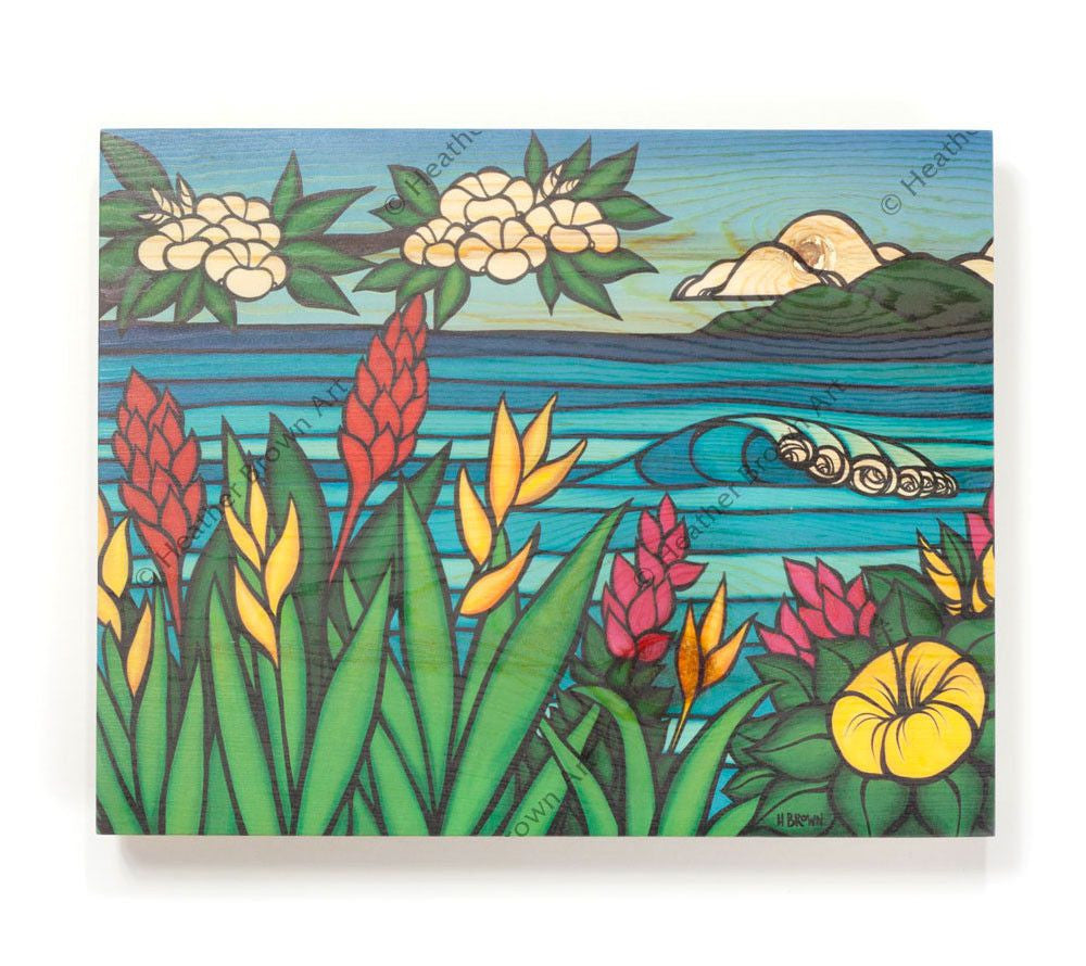 Flowers of Hawaii - Open Edition Wood Panel Print by Heather Brown