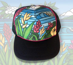 "The ""Flowers of Hawaii"" trucker hat features an image of two surfer girls out for a day of sandy beaches and epic waves.an image of classic tropical flowers native to the Hawaiian Islands with a rolling wave in the background"