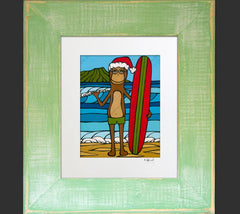 Longboarding with Francis on Christmas - A holiday framed matted print by Heather Brown