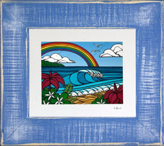 Heather Brown - North Shore Rainbow painting in a recycled frame.