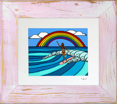 Rainbow Surf - Framed Matted Print by Heather Brown