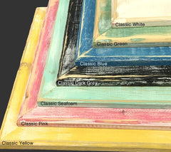 Reclaimed Wood Frames - Corner Detail – Classic Green, White, Blue, Dark Grey, Seafoam, Pink and Yellow by Heather Brown Art