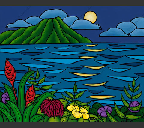 Full Moon Over Diamond Head - Painting by Heather Brown featuring a full moon rising over Diamond Head Crater and reflecting over a calm blue sea.