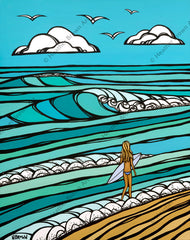 Beach art painting of a girl out surfing by Hawaii artist Heather Brown