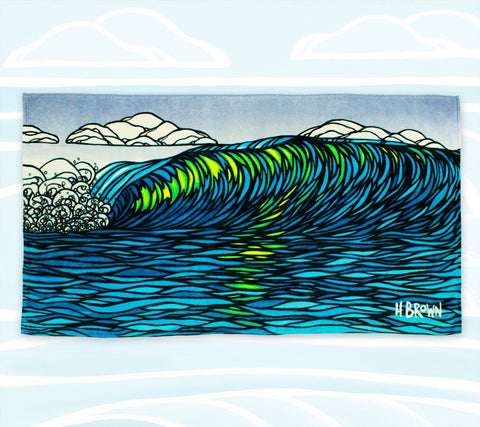 Art beach towel by Heather Brown with bright colors and wave art