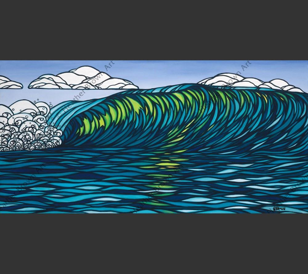 Hawaii artist Heather Brown depicts a giant glassy green wave, a surfer's paradise.