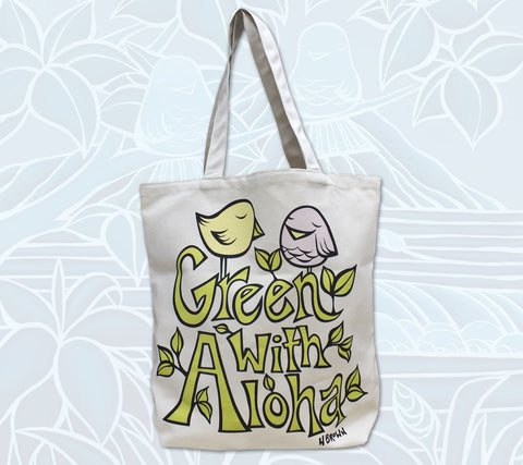 """Little Birdie Buddies"" Green with Aloha tote bag by Heather Brown Art"