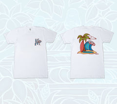 Aloha & Surfboards Double-sided T-Shirt by tropical Hawaii artist Heather Brown
