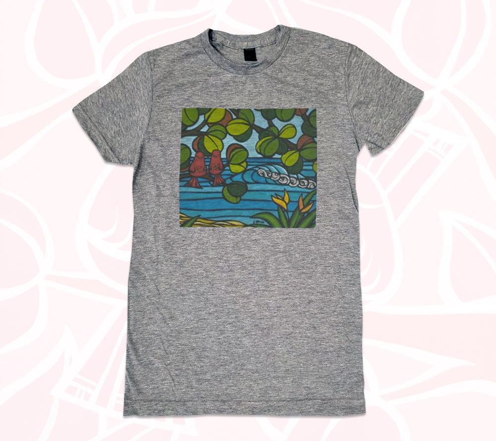 This comfortable, Hawaii T-shirt features love birds, Hawaiian flowers and the ocean painted by Heather Brown
