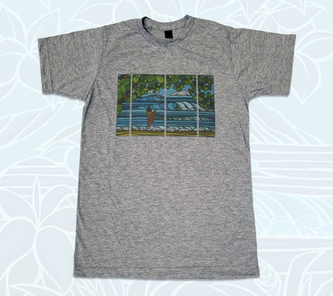 Men's charcoal T-shirt featuring a Hawaii beach scene painted by Heather Brown