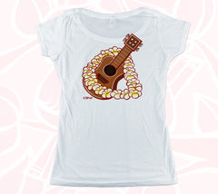 Aloha & Ukulele Double-sided Women's Scoop Tee