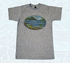 Charcoal, comfortable, men's T-shirt picturing a Hawaiian paradise by surf artist Heather Brown