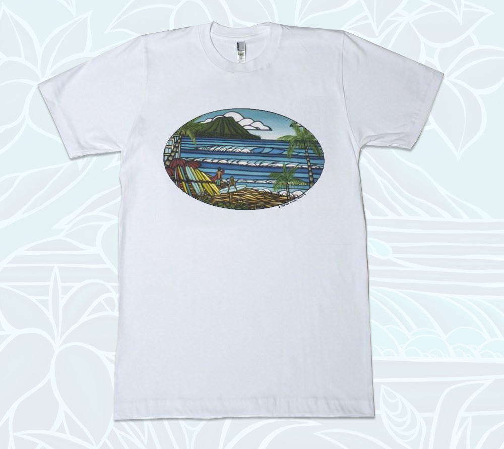 White, 100% cotton, men's shirt with an idyllic Hawaii beach scene by Heather Brown