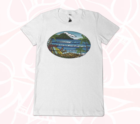 White, comfortable, women's T-shirt featuring coastal Hawaii artwork by Heather Brown