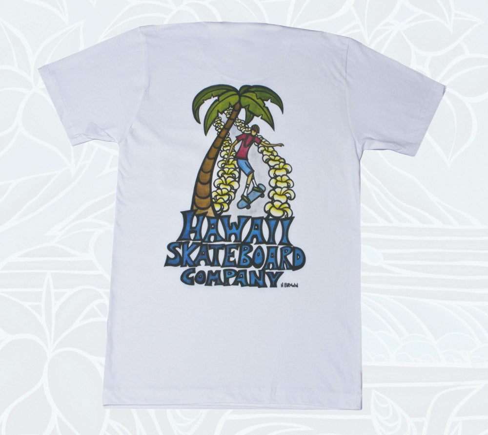 Men's Hawaii Skateboard Company T-shirt designed by surf artist Heather Brown