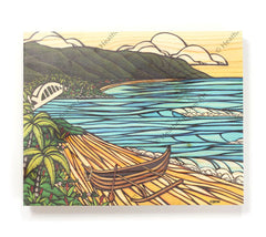 Haleiwa Wa'a - Open Edition Wood Panel Print by Heather Brown