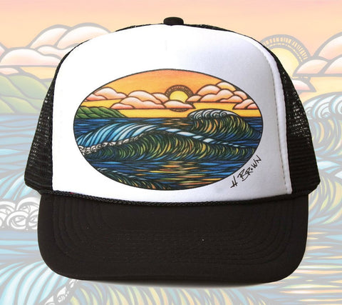 Haleiwa Sunset Trucker Hat by Hawaii artist Heather Brown