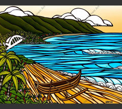 A traditional Hawaiian canoe on a Hawaiian beach by surf artist Heather Brown