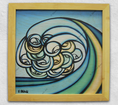 Happy Wave art on wood in a bamboo frame by Hawaii Artist Heather Brown