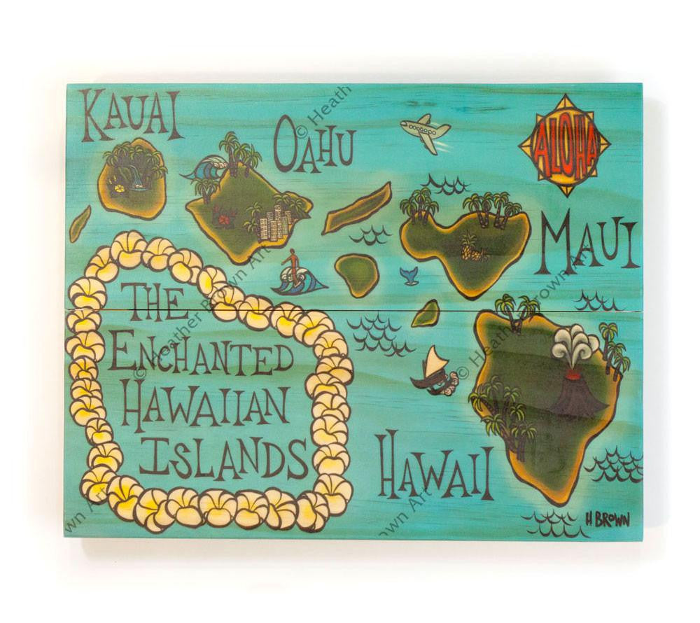 Hawaii Map - Open Edition Wood Panel Print by Heather Brown