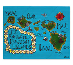 Hawaii Map - Bamboo wood print of a stylized map of the Hawaiian Islands by tropical artist Heather Brown