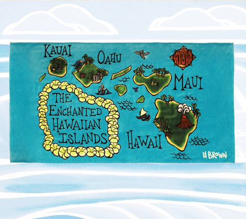 New Map of the Hawaiian Island Chain by Hawaii Artist Heather Brown