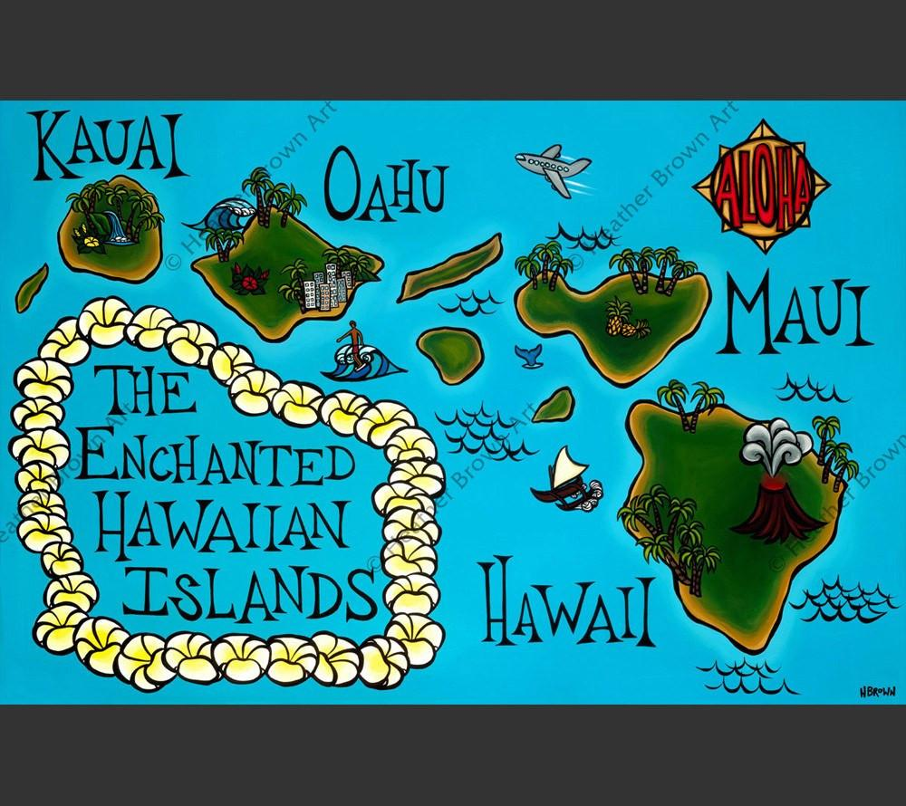 Hawai I Map Products Heather Brown Art Tropical