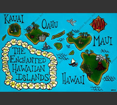 Heather Brown has painted each island of Hawaii in this colorful, whimsical map