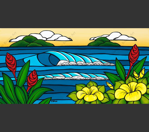 Hawaiian Island Paradise - Painting of rolling waves framed by beautiful tropical flowers by Hawaii artist Heather Brown