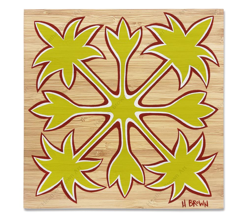 Hawaiian Quilts - Bamboo wood print of a traditional pattern used in Hawaiian quilts by tropical artist Heather Brown