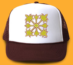 """Hawaiian Quilt"" Trucker Hat - Wearable Art by Tropical Artist Heather Brown"