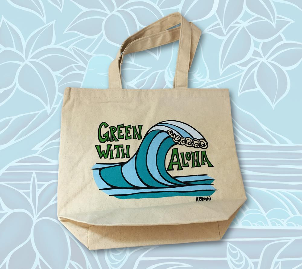 Green with Aloha Wave tote bag by Heather Brown Art