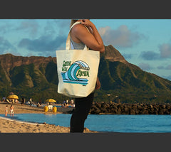 Unique beach bag with Hawaiian wave art by Heather Brown