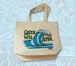 Green with Aloha Wave Tote Bag by Heather Brown
