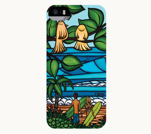 Ku'uipo's - iPhone case artwork of couples watching the surf by Heather Brown