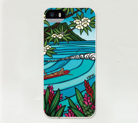 Waikiki Surf Girl iPhone Case - The bright blues of a surfer girls island paradise by Heather Brown