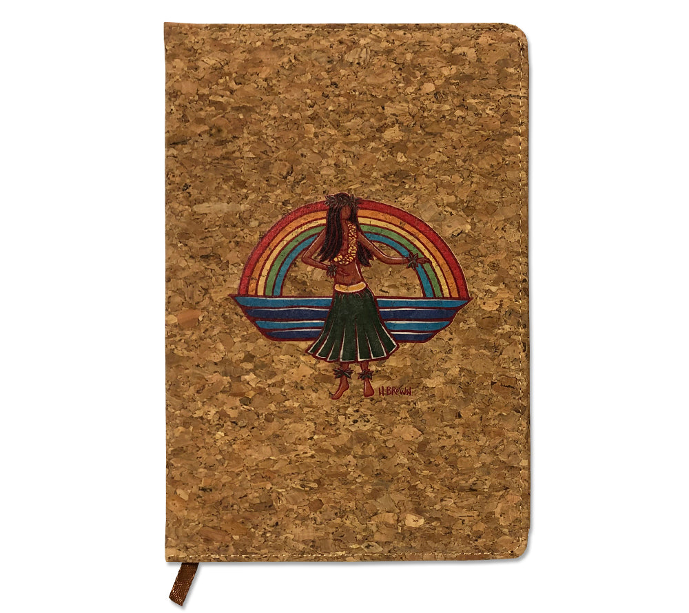 "The ""Hula"" cork journal features full color artwork of a woman dancing the hula framed by a beautiful Hawaiian rainbow from Heather Brown's ""Hawaiiana Elements Series""."