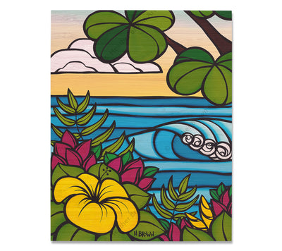 Hibiscus Breeze - Bamboo wood print of a view of rolling waves framed by Hibiscus flowers by tropical artist Heather Brown