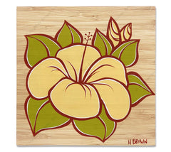 Hibiscus - Bamboo wood print of a beautiful Hawaiian flower by tropical artist Heather Brown