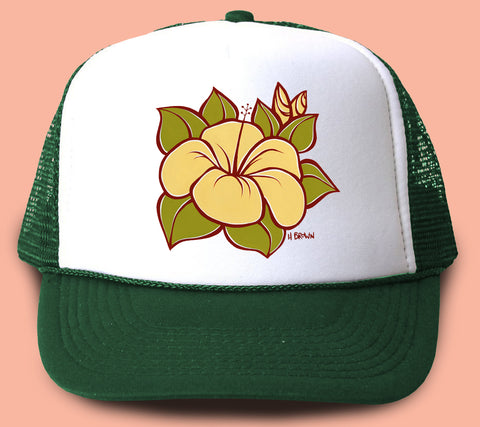 """Hibiscus"" Trucker Hat - Wearable Art by Tropical Artist Heather Brown"
