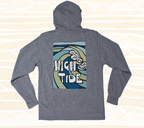 Grey - High Tide Logo Hoodie (Back) Heather Brown Apparel - Iconic surf art is now wearable