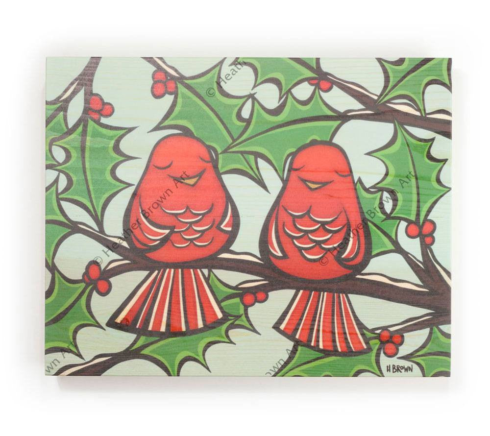Holiday Birds - Open Edition Wood Panel Print by Heather Brown